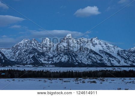The amazing views of the Grant Teton National Park from the overlook just prior to sunrise in Jackson, Wyoming.