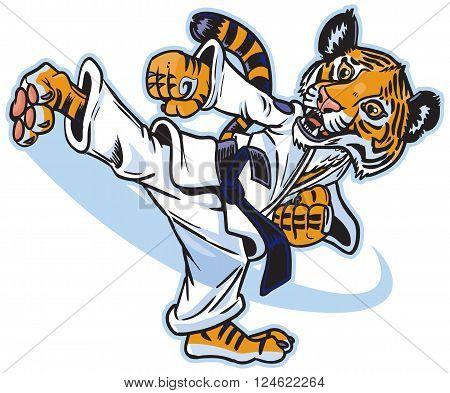 Vector clip art cartoon of a cute young tiger cub martial artist executing a spinning back kick.