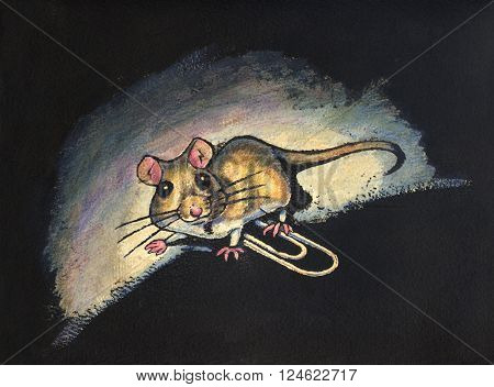 Ink and watercolor illustration of a small mouse walking over a paperclip. The mouse appears startled to be caught in a beam of light.