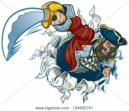 A vector cartoon illustration pirate rips out of the background brandishing a cutlass.