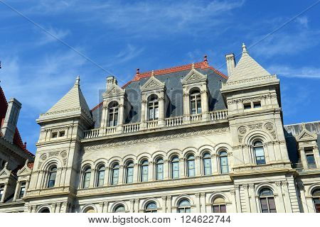 New York State Capitol, Albany, New York, USA. This building was built with Romanesque Revival and Neo-Renaissance style in 1867.