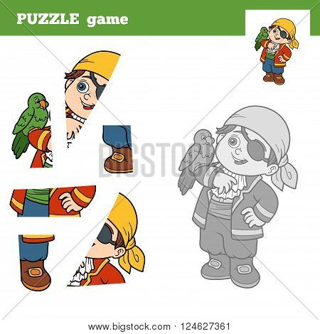 Puzzle Game For Children, Pirate Boy And Parrot