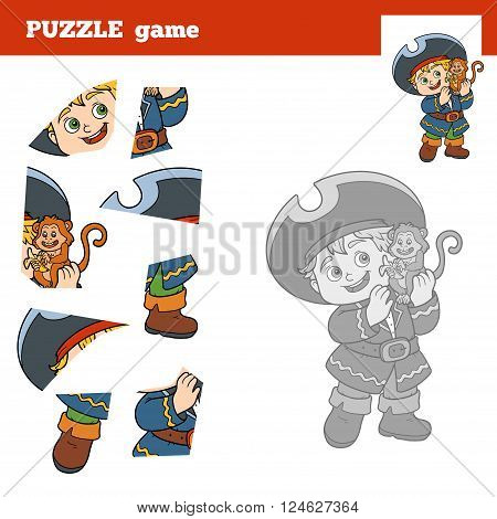 Puzzle Game For Children, Pirate Boy And Monkey
