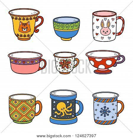 Vector Colorful Set With Different Empty Cups