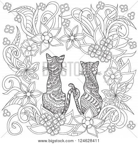 Hand drawn decorated cartoon cats in boho style. Pencil drawing. Image for adult or children coloring book page. Vector illustration - eps 10.
