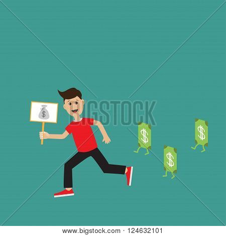 Running guy Boy character Businessman hand holding paper blank with money bag on the stick Money bill banknote with dollar sign. Flat design Green background. Flat design Vector illustration