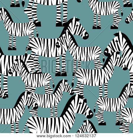 Zebra Seamless Pattern. Savannah Animal Ornament. Wild Animal Texture. Striped White Animal Zebra On