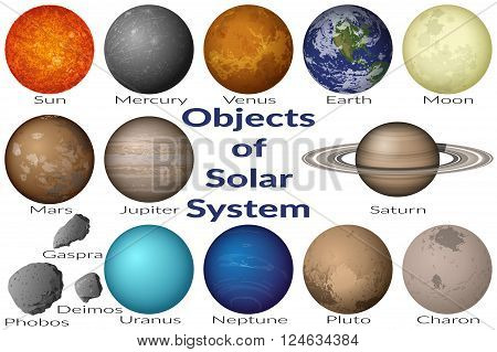 Space Set Planets Solar System, Sun, Earth, Moon, Venus, Mercury, Mars, Pluto, Charon, Phobos, Deimos, Gaspra, Neptune, Jupiter, Saturn and Uranus. Elements Furnished by NASA, solarsystem.nasa.gov. Vector