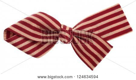 Hair bow tie with dark red maroon and beige stripes