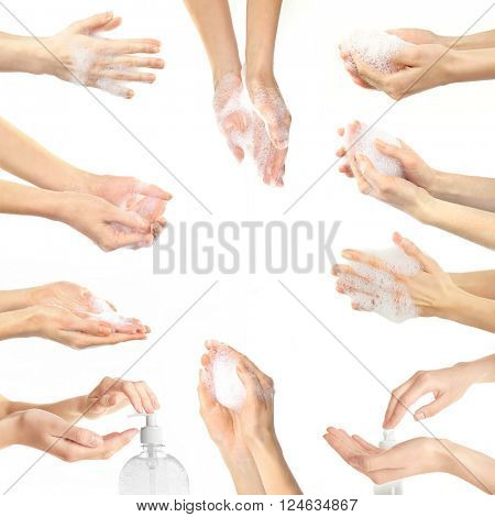 Collage with young beautiful washing hands, isolated on white