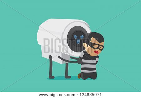 CCTV Camera arrested robber. This illustration about good security concept of CCTV. poster