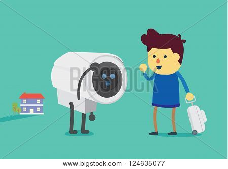 Man going to travel use CCTV to watch over the house like a watchman robot help to security home.
