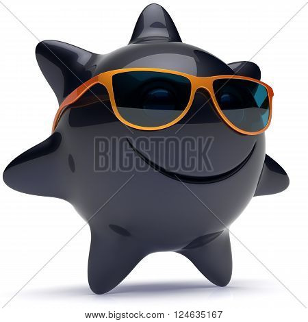 Sun star smiley face sunglasses cheerful summer smile cartoon ball emoticon happy sunny heat black orange person icon. Smiling laughing character holiday chilling sunbathing sunbeam avatar. 3D render