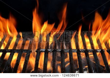 Empty Bbq Fire Grill And Burning Charcoal With Bright Flames.
