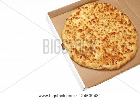 Round Cheese Pie Or  Pizza In White Carboard Box, Isolated