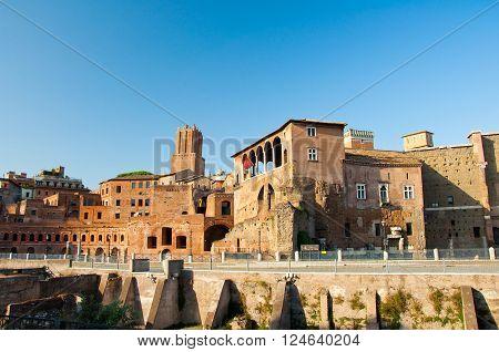 Trajan's Forum and Casa dei cavalieri di Rodi. Rome Italy poster