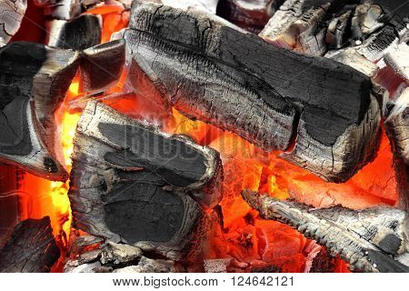 Glowing Hot Charcoal Briquettes Background Texture Top View Close-up