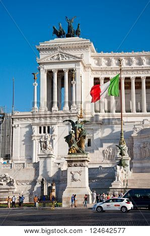 ROME-AUGUST 5:The Altare della Patria on August 5 2013 in Rome Italy. The Altare della Patria is a monument built in honour of Victor Emmanuel the first king of a unified Italy in Rome Italy.