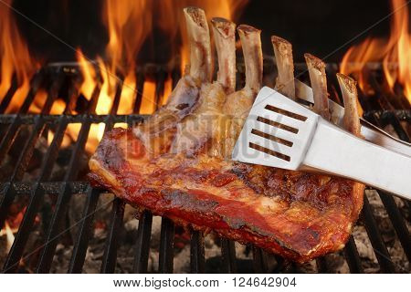 Baby Back Or Spare Ribs On The Flaming Bbq Grill