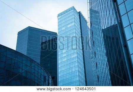 Modern blue glass buildings in the city.