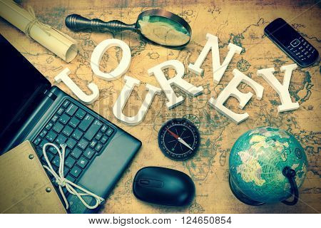 Sign Journey, Laptop, Key, Globe, Compass, Gsm Phone, Letter, Magnifier