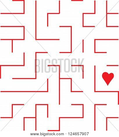 endless multiplies in all directions vector labyrinth with heart