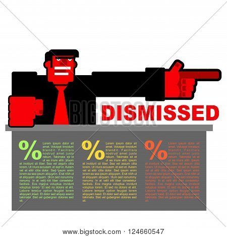 Dismissed. Infographics For Dismissal. Red Angry Bos Points To Door. Angry Shouts Director Fired. Un