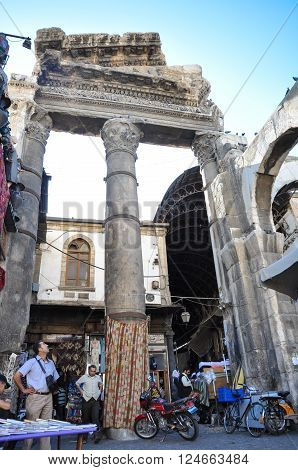Damascus, Syria - May 09, 2010: Old bazaar in damascus before the war