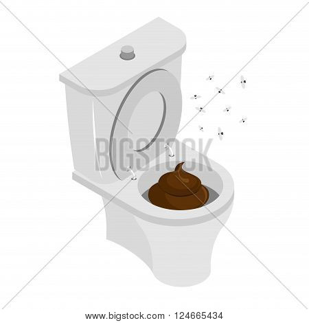 Dirty Toilet Isolated. Shit In Toilet. Turd In Toilet. Latrine. Stench And Flies