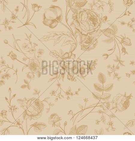 Seamless vector vintage pattern with Victorian bouquet of gold flowers on a beige background. Garden roses tulips delphinium petunia.