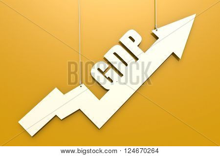 White arrow with GDP word hang on yellow background image, 3D rendering