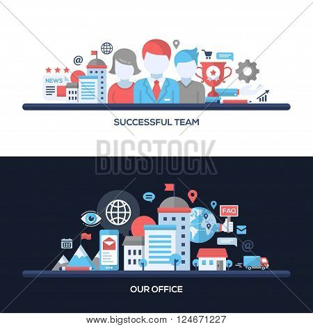 Successful Team, Our Office concepts compositions set. Vector modern line flat design infographics elements and webdesign banners, headers.