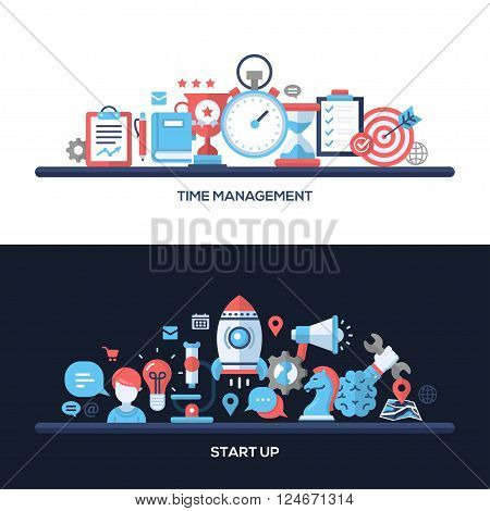 Time Management, Start Up concepts compositions set. Vector modern line flat design infographics elements and webdesign banners, headers.