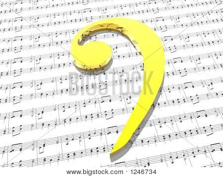 Bass Clef On Sheet Of Printed Music