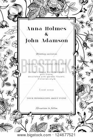 Vector vertical vintage floral wedding elegant card with frame of black garden flowers on white background. Monochrome. Design template.