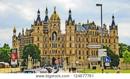 Schwerin Germany - June 13 2012: Schwerin Castle. This building houses the State Parliament of Mecklenburg-Vorpommern.