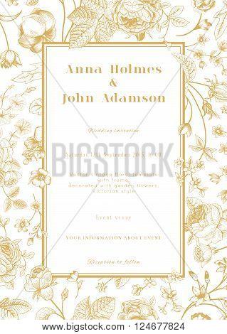 Vector vertical vintage floral wedding elegant card with frame of gold garden flowers on white background. Design template.