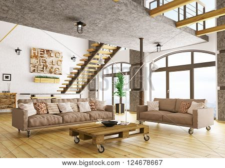 Living Room Interior 3D Rendering