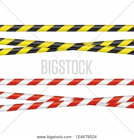 two different barrier tapes on a neutral background