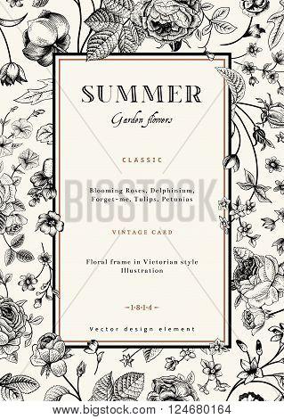 Summer vertical vector vintage elegant card with black garden flowers. Roses forget-me delphinium on beige background with golden frame. Design template.