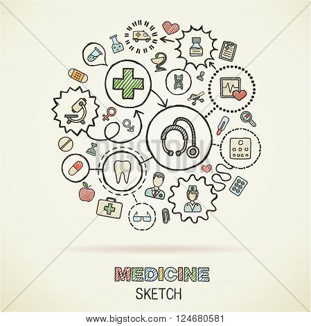 Medical hand drawing connected icons. Vector doodle interactive pictogram set. Sketch concept illustration on paper. Healthcare, health, care, medicine, pharmacy, social. Abstract background.