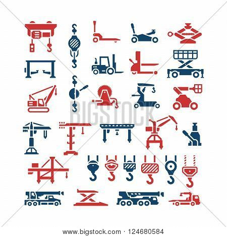 Set color icons of lifting equipments, cranes, winches and hooks isolated on white. Vector illustration