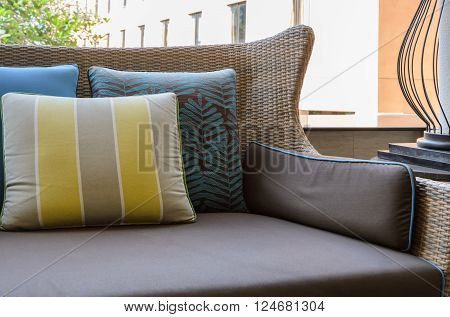 Patio outdoor deck with pillows on sofa
