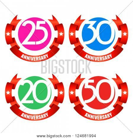 Bright minimalistic vector greeting 20, 25, 30, 50 anniversary card with red ribbons. Gift for birthday, wedding and other celebration