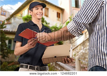 Delivering Messenger Delivery Person Package Residential Structure Men House poster