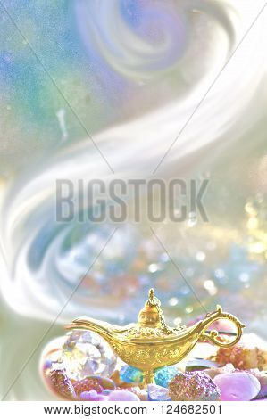 Concept of the magic lamp granting wishes