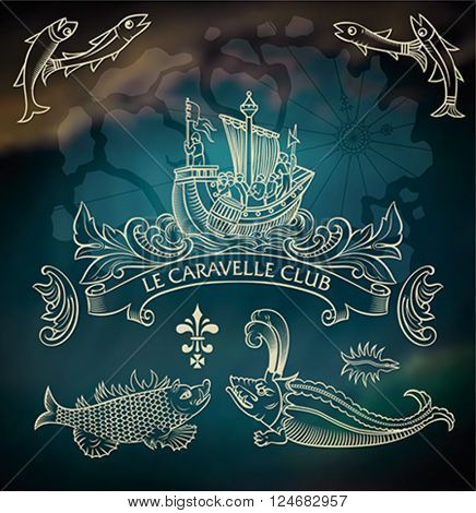 Set of vintage style marine images inverted on the dark blurred background. Editable vector illustration.