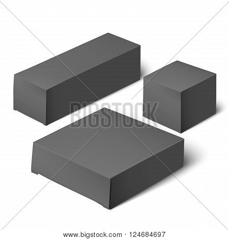 Blank template whiterealistic box ready for your design. Blank black packaging. Sample package. Blank template for design. Mockup Template. White Product Cardboard Package Box