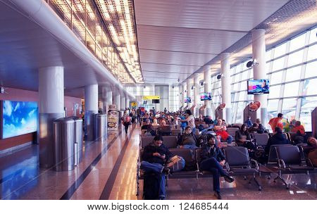 MOSCOW - FEBRUARY 2: People wait for a flights in the Terminal of Sheremetyevo International Airport on 2th of February, 2016 in Moscow.