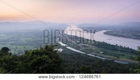 Aerial landscape view of Mekong river with mountain ranges at twilight in Nong Khai Province, Thailand poster